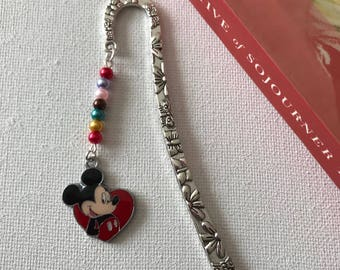 Silver Bookmarks Shepherds Hook Metal Bookmarks Mickey Mouse Charm