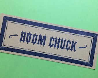 BOOM CHUCK letterpress poster Blue Music Instrument Banjo kitchen decor gifts diner art print