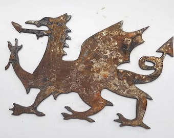 6 inch Welsh English Dragon Coat of Arms Metal Rough Rusty Vintage-y Steel Wall Art Ornament Craft Sign Wind Chime
