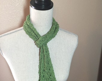 Green Silk Lace Infinity Scarf