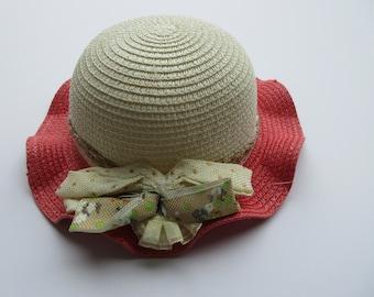 Pink Brim Straw Hat