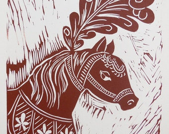 Sticker lunatique main poney de cirque tiré linogravure imprimer