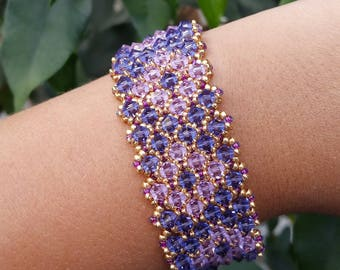 chain bracelet elegant and very sophisticated chic Crystal Swarovski pink satin and purple satin - gold