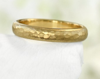 4mm Hammered Wedding Ring, Eco Friendly 18k Yellow or Rose Gold