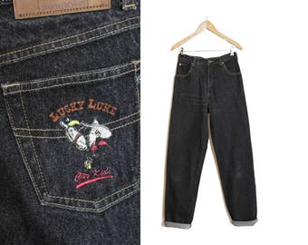 Black High waists, Black denim pants, Vintage black jeans, Vintage 90s Pants, High waisted jean pants, Boyfriend pants / Medium w 29