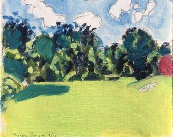 Sunny afternoon, July 2017, ORIGINAL oil colors on heavyweight paper, summer landscape painting by Shirley Kanyon, 21x25cm, 8.3x9.8 inch