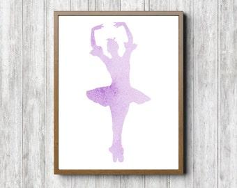 Printable Ballet Wall Art - Ballet Dancer Print - Watercolor Ballerina Poster - Lavender Girls Room / Nursery Decor - Ballet Dancer Gift