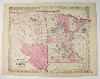 1864 Johnson Minnesota Map Dakota Territory Map, North Dakota South Dakota Map, Historical Map History Buff Gift, Antique MN Map ND SD Map