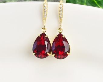 Swarovski Earrings Ruby Bridal Jewelry Red Earrings Gold Bridesmaid Jewelry Crystal Teardrop Bridesmaid Earrings for Her Wedding Earrings