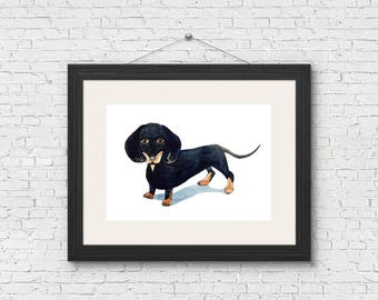 Dachshund, Sausage Dog, Wiener Dog, Black and Tan, Giclee, Art Print of Original Watercolour Illustration A4 A5