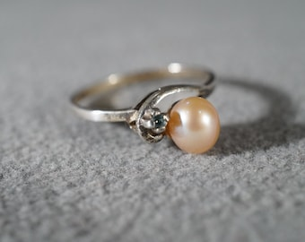 Vintage Sterling Silver Round Cultured Pearl Diamond Fancy Design Bold Band Ring, Size 8