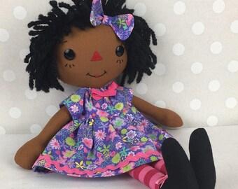 Cinnamon Annie Raggedy Ann Doll -  African American Doll - Black Doll  - Black Baby Doll - Rag doll - Birthday Gift for Girls - Girls Room