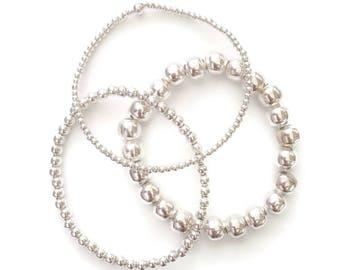 Stacked Bracelet - Sterling Silver Bracelet - Layering - 925 silver bead bracelet - Stretch Bracelet - 925 silver Jewelry - Ankle Bracelet