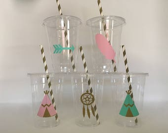 Tribal party cups, Teepee Party Cups, Tribal Baby shower, Boho Baby shower cups, Boho Party Cups, Boho Birthday Party cups