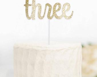 Gold Glitter Three Cake Topper, 3rd Birthday Cake Topper, Age Cake Topper, Glitter Cake Topper, Third Birthday Cake Topper, 3 Cake Topper