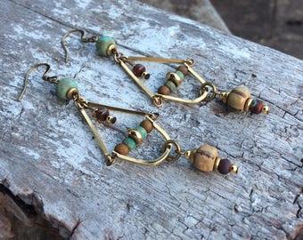 Statement boho earrings, Tribal earrings, Hippy earrings, Boho earrings, Turquoise/Tan bronze earrings, Earthy Gypsy earrings, boho Chic