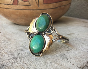 Old Pawn Turquoise Bracelet for Small Wrist, Southwestern Jewelry, Vintage Turquoise Jewelry