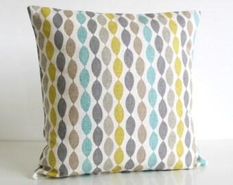 Cotton pillow cover, Decorative Pillow Cover, Aqua Cushion Cover, Cotton Pillow Sham, 16x16, 18x18, 20x20 - Gemstone Aqua