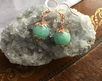 Amazonite and Copper Earrings - Free U.S.  Shipping