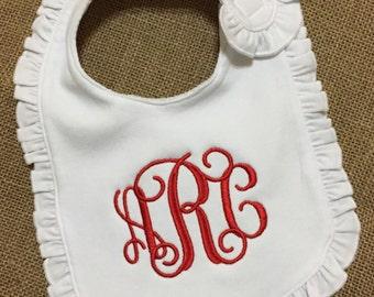 Monogrammed Bib / Personalized Bib / Ruffle Bib / Girl's Monogram Bib / Baby Shower Gift / Baby Girl Gift / Baby Monogram / Christening bib