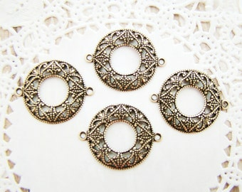 Antique Brass Ox Round Filigree Connectors Button Settings Dapped - 4