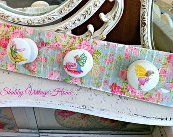Decoupage Little Fairies Coat Rail Shabby Vintage Painted Rustic Robe Clothes Hooks Rack