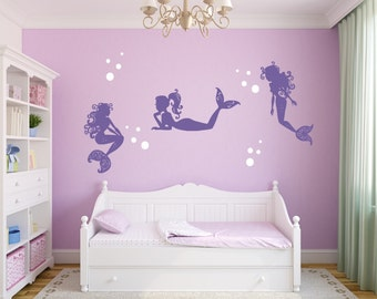 Mermaid Wall Decal - Mermaids and Bubbles - Girl Wall Decoration - Baby Room Decal - Nursery Wall Decal - Vinyl Sticker - Mermaid Wall Decor