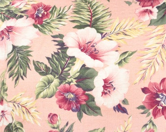 1940's Tropical Hibiscus and Rose Floral Pattern Vintage Barkcloth Fabric