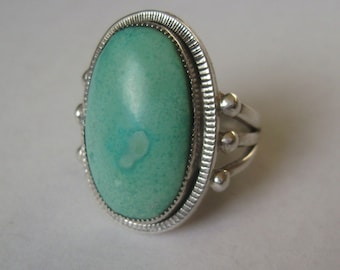 turquoise and sterling ring, size 8
