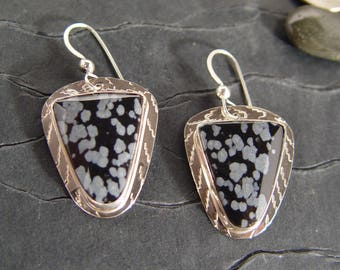 Snowflake Obsidian Sterling Silver Dangle Earrings