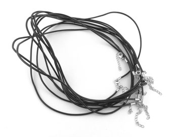 10pcs Black Leather Cord Necklace - 18inch Necklace Supply - 18 inch Black Cord - Black Leather String Clasp - Men Jewelry Supply