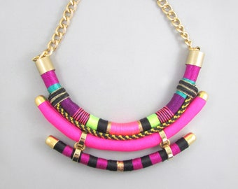 Statement Tribal cord necklace,Chunky necklace,Hot Pink necklace,Modern necklace,Summer necklace,Birthday gift for her