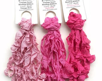 Vintage Seam Binding Ribbon, Ruffled Seam Ribbon, Craft Ribbon, Vintage Pink Ribbon, Dry Gulch, One 5 Yard Bundle, Choose Your Color