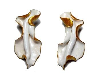 Statement stud Earrings, Leaf earrings, White large Earrings, Gold earrings, Polymer clay earrings, Organic Shape Earrings, Mothers day gift