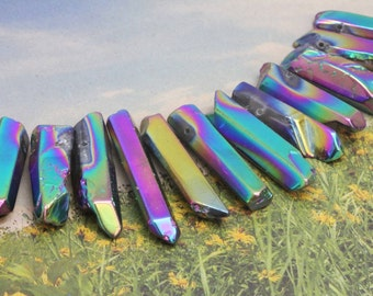 Purple gold pink Rainbow Titanium Crystal Quartz Point Bead, Top drilled Quartz Point / Rustic Quartz Bead / Mystic Quartz Bead 18-30mm