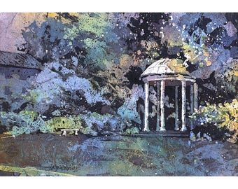 Old Well on University of North Carolina (UNC)- Chapel Hill, NC.  University of North Carolina painting.  UNC well painting fine art print