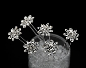 Set of 6 clear Crystal  bridal Hair Pins