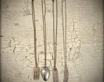 Fork necklace! Knife necklace! Spoon Necklace! Upcycled Cutlery Necklace! Place setting necklace! Foodie chef cook kitchen holiday gift!