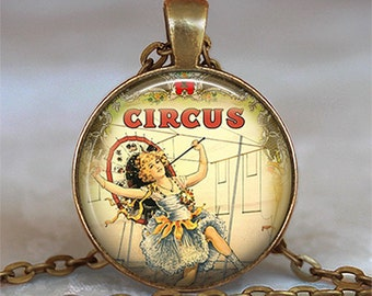Steampunk Circus Girl necklace, Circus jewelry Circus jewellery Circus pendant key chain keychain key ring key fob keyring