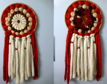 Boho Large Dream Catcher - Red & White Wool Woven Texile Art Wall Hanging-  Bold Vintage 80s Native American Indian - Tribal Home Decor