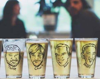 Caricature Glasses - Custom Groomsmen Gift -  Will You Be My Groomsman -  Vintage Style Caricature Beer Glass - Groomsman Gift