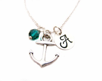 Anchor Necklace - Anchor Charm Birthstone Initial Personalized Sterling Silver Necklace - Nautical Necklace - Gift for Her