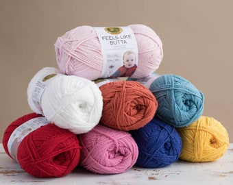 Feels Like Butta, Lion Brand, Baby Yarn, Worsted Weight, Chenille, Polyester, Super Soft Yarn, Velvet feel, soft yarn, your choice of color
