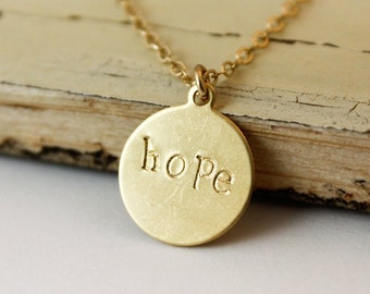 Hope Necklace - Choose Your Setting - Gold Hope Necklace - Inspirational Jewelry