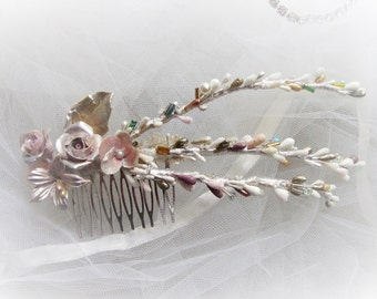 Porcelain Comb-Flower comb-vintage style-Bridal comb-bridal headdresses-Floral wreath-headdresses-Romantic style-weddings and party
