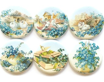 Magnets Blue Country Scenes Vintage Postcard Scenes Fridge Magnets Swans Magnets Refrigerator Magnets Flowers Doves Pretty Magnets, 6/Set