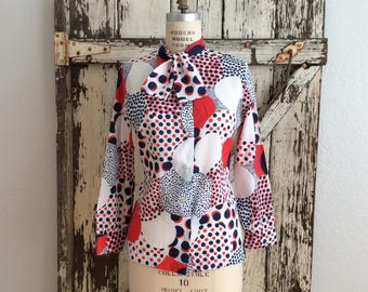 Vintage Groovy 1960s Red White and Blue Ascot Collar Button Down Blouse Small Medium