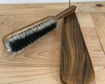 """Vintage 1950's - 60's Wooden Wall Hanging Clothes Brush 10"""" / 25cm Long"""