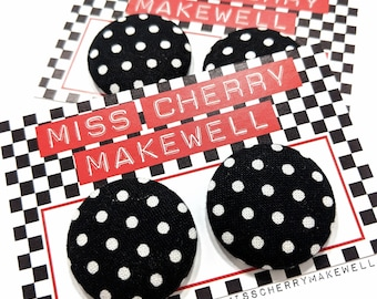 Black & White Polka Dot Rockabilly 1940's 1950's Pin Up Vintage Inspired Stud or Clip On Fabric Button Earrings By Miss Cherry Makewell