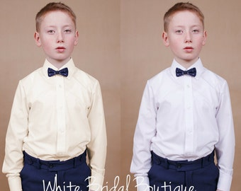 Ivory boy shirt Toddler shirt Ring bearer outfit Holy communion Communion boy outfit Ivory dress shirt Blessing outfit Confirmation outfit